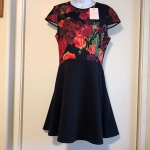 Ted Baker London, NWT, Size 8,Rose Dress Black Red